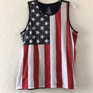 Women USA American Flag tank top Navy Red size XL